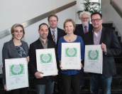 The winning researchers with members of the review board: Hanna C. Koinig, Nicolas Rose, Dr. Bernd Grosse Liesner, Tuija Kekarainen, Prof. Maurice Pensaert, Prof. Armin Saalmüller (from left to right)